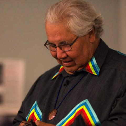 Murray Sinclair during opening keynote of the Shingwauk 2015 Gathering. Photograph taken during his address to survivors. (source - Wikimedia CC)